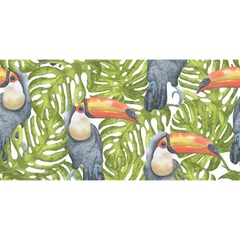Tropical Print Leaves Birds Toucans Toucan Large Print YOU ARE INVITED 3D Greeting Card (8x4)