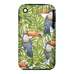Tropical Print Leaves Birds Toucans Toucan Large Print Apple iPhone 3G/3GS Hardshell Case (PC+Silicone)