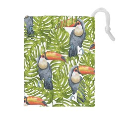 Tropical Print Leaves Birds Toucans Toucan Large Print Drawstring Pouches (extra Large)