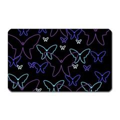 Blue neon butterflies Magnet (Rectangular)