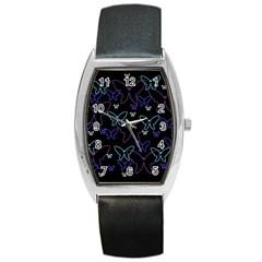 Blue neon butterflies Barrel Style Metal Watch