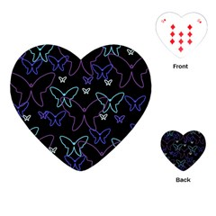 Blue neon butterflies Playing Cards (Heart)