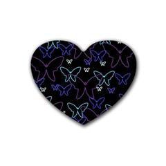 Blue neon butterflies Heart Coaster (4 pack)