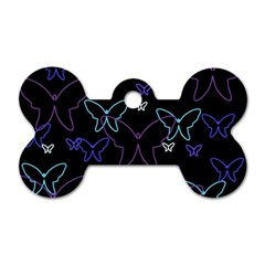 Blue neon butterflies Dog Tag Bone (Two Sides)