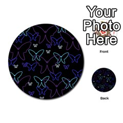 Blue neon butterflies Multi-purpose Cards (Round)