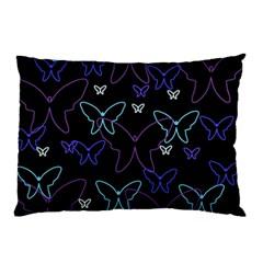 Blue neon butterflies Pillow Case