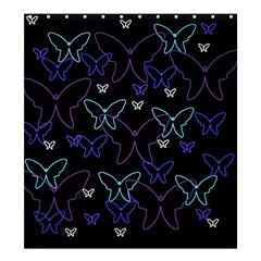 Blue neon butterflies Shower Curtain 66  x 72  (Large)