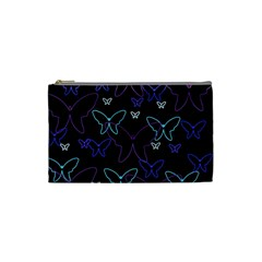 Blue neon butterflies Cosmetic Bag (Small)
