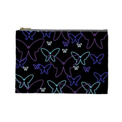 Blue neon butterflies Cosmetic Bag (Large)