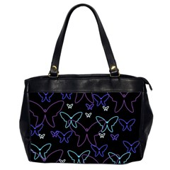Blue neon butterflies Office Handbags (2 Sides)