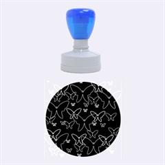 Blue neon butterflies Rubber Round Stamps (Medium)