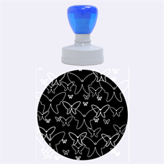 Blue neon butterflies Rubber Round Stamps (Large)
