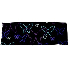 Blue neon butterflies Body Pillow Case Dakimakura (Two Sides)