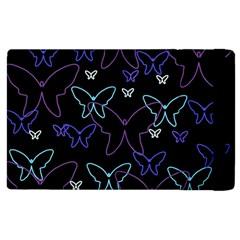 Blue neon butterflies Apple iPad 3/4 Flip Case