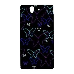 Blue neon butterflies Sony Xperia Z
