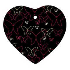 Pink neon butterflies Ornament (Heart)