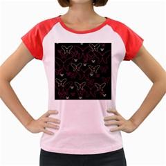 Pink neon butterflies Women s Cap Sleeve T-Shirt