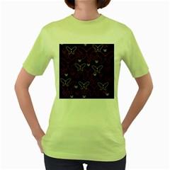 Pink neon butterflies Women s Green T-Shirt