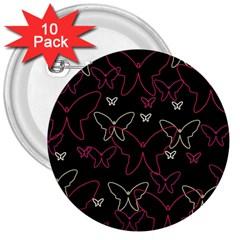 Pink neon butterflies 3  Buttons (10 pack)