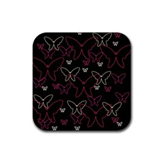 Pink neon butterflies Rubber Square Coaster (4 pack)