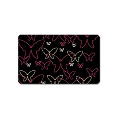 Pink neon butterflies Magnet (Name Card)