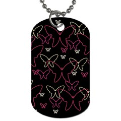 Pink neon butterflies Dog Tag (One Side)