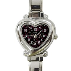 Pink neon butterflies Heart Italian Charm Watch