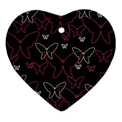 Pink neon butterflies Heart Ornament (2 Sides)