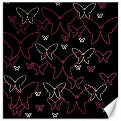 Pink neon butterflies Canvas 16  x 16