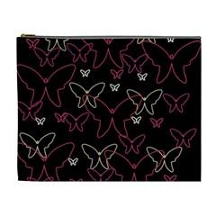 Pink neon butterflies Cosmetic Bag (XL)