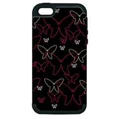 Pink neon butterflies Apple iPhone 5 Hardshell Case (PC+Silicone)