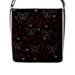 Pink neon butterflies Flap Messenger Bag (L)