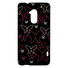 Pink neon butterflies HTC One Max (T6) Hardshell Case