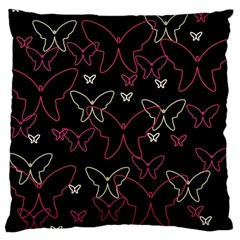 Pink neon butterflies Standard Flano Cushion Case (Two Sides)