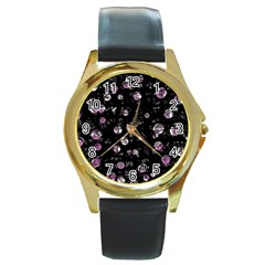 Purple soul Round Gold Metal Watch