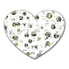 White and yellow soul Heart Mousepads