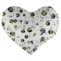 White and yellow soul Large 19  Premium Flano Heart Shape Cushions
