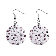 White and red soul Mini Button Earrings