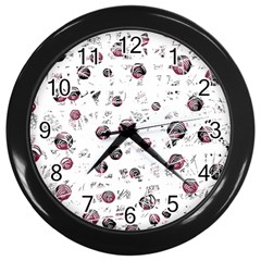 White and red soul Wall Clocks (Black)