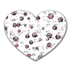 White and red soul Heart Mousepads