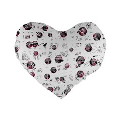 White and red soul Standard 16  Premium Heart Shape Cushions