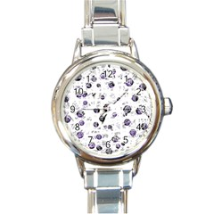 White and blue soul Round Italian Charm Watch