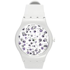White and blue soul Round Plastic Sport Watch (M)