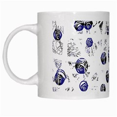 White and deep blue soul White Mugs
