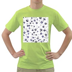 White and deep blue soul Green T-Shirt