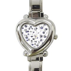 White and deep blue soul Heart Italian Charm Watch