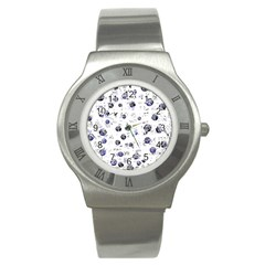 White and deep blue soul Stainless Steel Watch