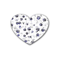 White and deep blue soul Rubber Coaster (Heart)