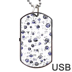 White and deep blue soul Dog Tag USB Flash (Two Sides)