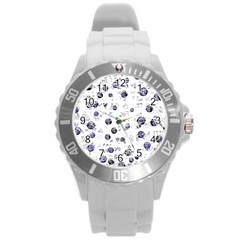 White and deep blue soul Round Plastic Sport Watch (L)